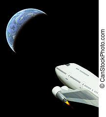 comercial, vuelo, espacio