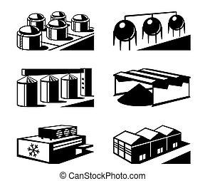 comercial, y, almacén industrial