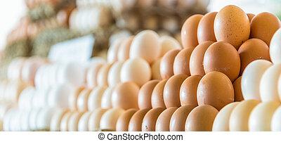 comercialice recién, vendido, establo, huevos, calle