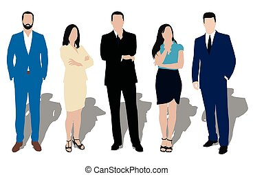 comerciante, colección, ropa, vendedor, work., workers., ...