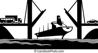 comerciante, passa, navio, drawbridge