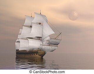 comerciante, viejo, render, -, barco, 3d