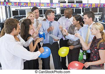 comerciantes, celebrar, oficina, acción