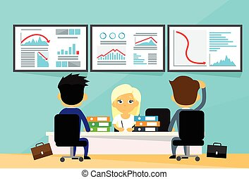 comerciantes, financeiro, escritório negócio, pessoas, tendência, gráfico, computadores, negativo, baixo, escrivaninha, outono, crise, finanças