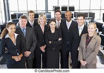 comerciantes, foto de grupo, acción