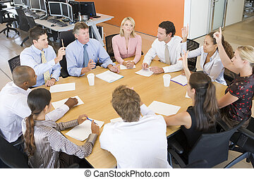comerciantes, reunião, estoque
