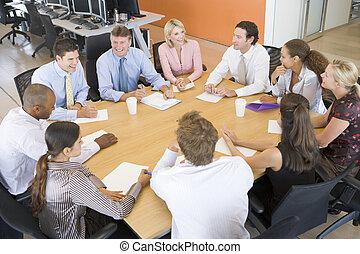 comerciantes, reunión, acción