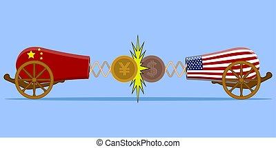 comercio, china, contra, guerra, estados unidos de américa