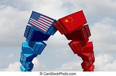comercio, china, nosotros, guerra