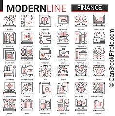 comercio, colección, delgado, el consultar, icono, vector, ilustración, rojo, banco, símbolos, analizar, finanzas, empresa / negocio, análisis, económico, negro, línea, tecnología, financiero, cuenta, conjunto, contorno, datos