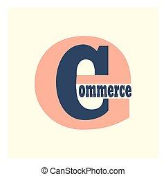 comercio, e, logotipo