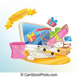 comercio, e, vector, compras