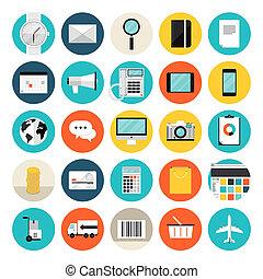 comercio electrónico, compras, plano, iconos