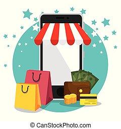 comercio electrónico, conjunto, iconos