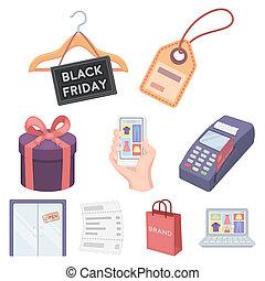 comercio electrónico, conjunto, iconos, en, caricatura, style., grande, colección, de, comercio electrónico, bitmap, raster, símbolo, ilustración común