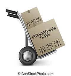 comercio internacional, camión de mano, caja de cartón