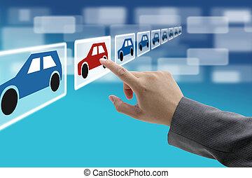 comercio, sala de exposición, electrónico, coche