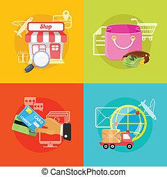 comercio, vector, e, ilustración