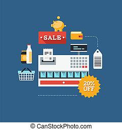 comercio, venta al por menor, ilustración, plano