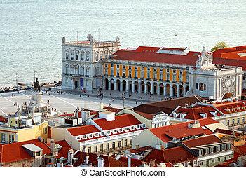 comercio, viejo, square., ciudad, lisbon., vista