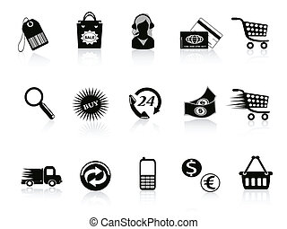 comercio, y, venta al por menor, iconos, conjunto
