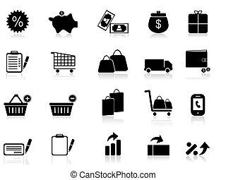 comercio, y, venta al por menor, iconos