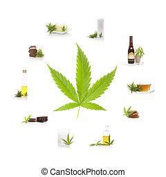comestível, cannabis, products.