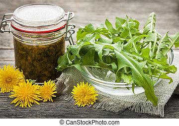 comestível, dandelions, e, dandelion, geleia