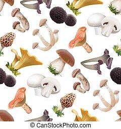 comestível, padrão, seamless, cogumelos, vário, espécie