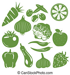 comestibles, conjunto, verde, iconos