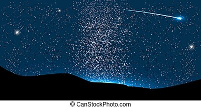 Comet Fly Around the Planet in Space. Vector Illustration....