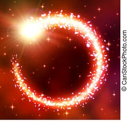 Comet fly in a circle. Lens flare effect, bokeh and glare. A chaotic vortex of brilliant particles. Flash of light, galactic nebula, flickering stars. Magic round light frame. Neon vector illustration