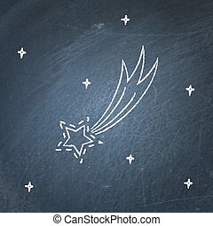 Comet icon on chalkboard