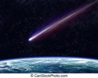 Comet - Illustration of a comet flying through space close ...