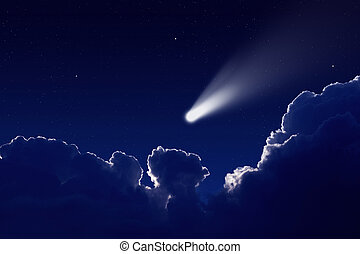 Abstract scientific background - comet in night sky with stars and clouds