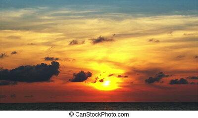 comet like sundown behind clouds