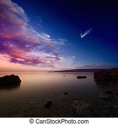 cometa, céu, pôr do sol