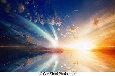 cometas, dois, longo, espantoso, glowing, caudas, queda, pôr do sol