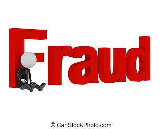cometer, texto, após, amarrada, 'fraud', crime., homem, 3d