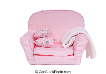 Comfi pink armchair with pillows and blanket on it isolated on white background