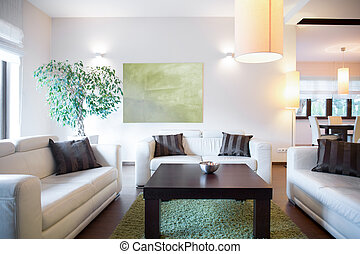 Comfort space to relax on white sofas
