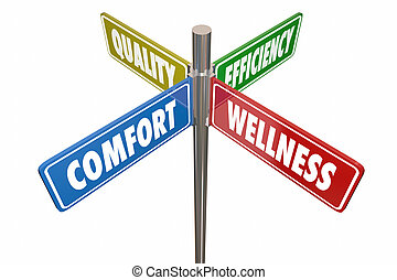 Comfort Wellness Efficiency Quality Road Signs 3d Illustration