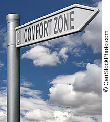 comfort zone road sign choose easy way with no risks, arrow with clipping path