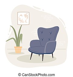 blue chair with plant