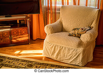 Comfortable armchair in living room