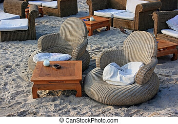 Comfortable beach - Beach for advanced tourists: with chairs...
