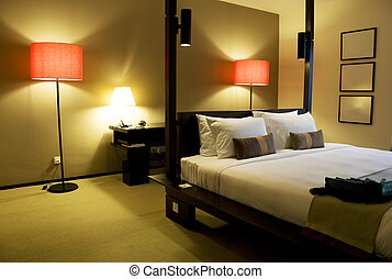 Image of a comfortable looking bedroom.