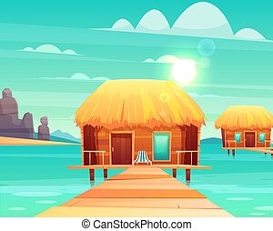 Comfortable bungalows on tropical beach vector - Comfortable...