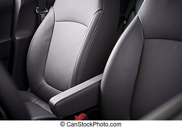 Comfortable Car Seats. Grey Leather Upholstery. Vehicle...