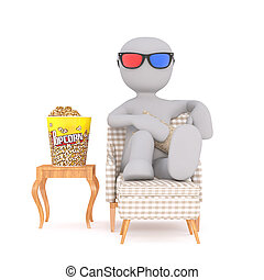 Comfortable Cartoon Man Watching 3d Movie at Home